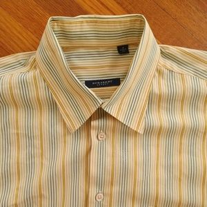 Burberry London Yellow Striped Medium Dress Shirt